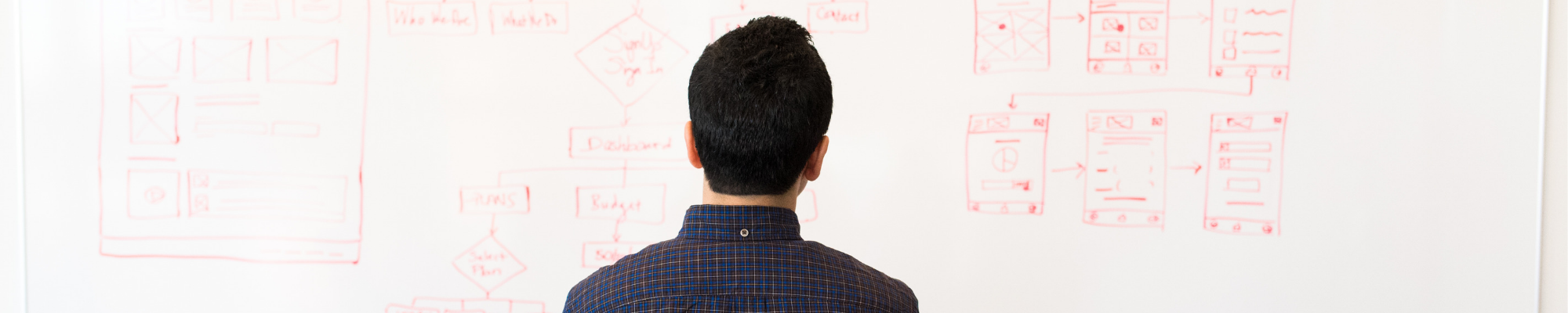 man in front of whiteboard